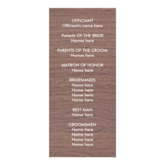 Rustic Blossom Wedding Program Rack Card Design