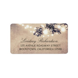 rustic blue address label with string lights