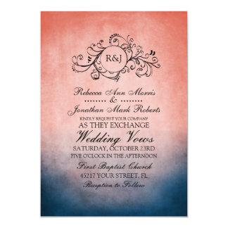 Rustic Blue and Pink Bohemian Wedding Invitation
