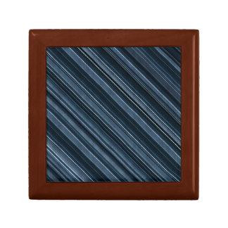 Rustic Blue, Attractive Men's Stripes Pattern Trinket Box