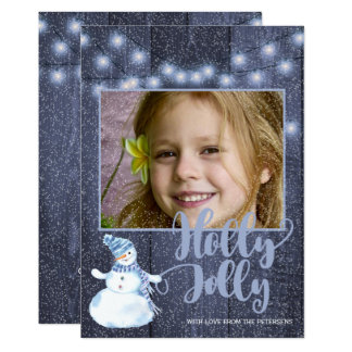 Rustic blue barn wood and twinkle lights photo card