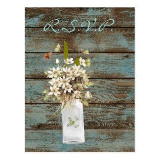 rustic blue barn wood wildflower country wedding postcard