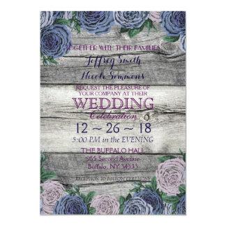"Rustic Blue Beautiful Country Barn Wood Wedding 5"" X 7"" Invitation Card"