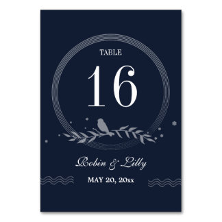 Rustic Blue Bird on Leaves Wedding Table Number