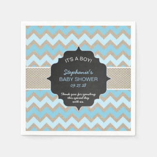 Rustic Blue Boy baby shower napkins
