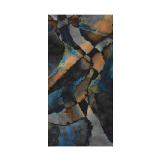 Rustic Blue Brown Black Abstract II Canvas Print