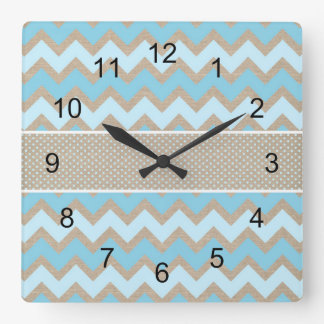 Rustic Blue chevron canvas dot baby nursery decor Square Wall Clock