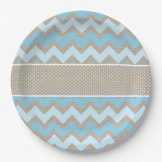 Rustic blue chevron dot canvas paper plate