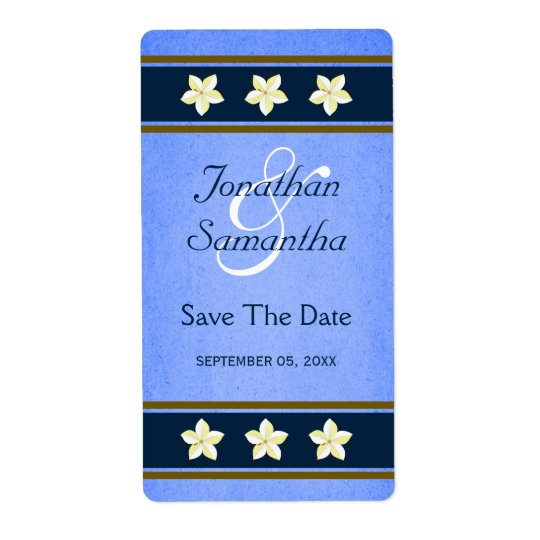 Rustic Blue Floral Save The Date Wine Labels Large