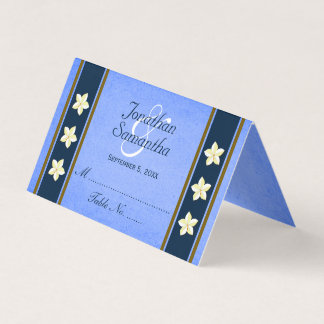 Rustic Blue Floral Wedding Table Place Cards