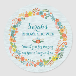 Rustic Blue Floral Wreath Bridal Shower Stickers