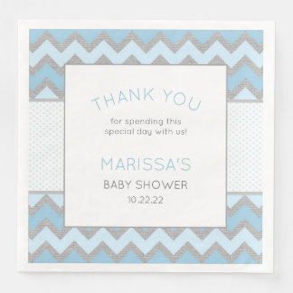 Rustic Blue Gray Boy Baby Shower Napkin