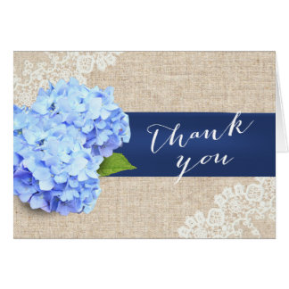 Rustic Blue Hydrangea Lace & Burlap Thank You Card