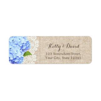 Rustic Blue Hydrangea Lace & Burlap Wedding