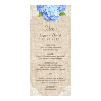 Rustic Blue Hydrangea Lace & Burlap Wedding Menu