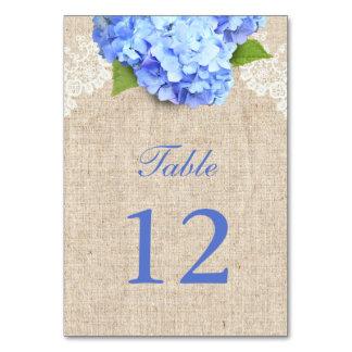 Rustic Blue Hydrangea Lace & Burlap Wedding Table Card