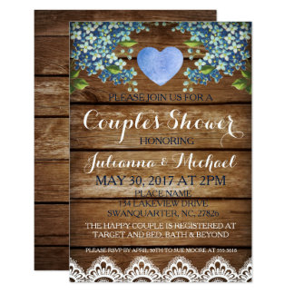 Rustic Blue Hydrangea & Lace Couple's Shower Card