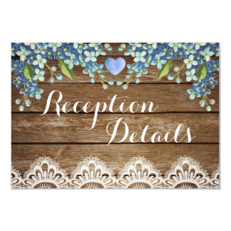 Rustic Blue Hydrangea & Lace Reception Card