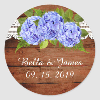 Rustic Blue Hydrangea Lace Wedding Stickers