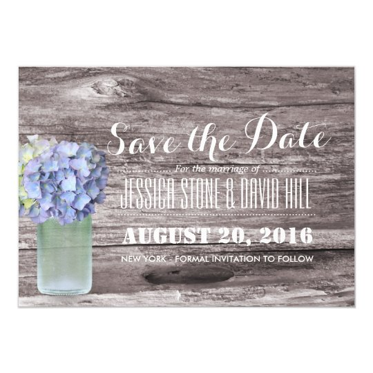 Rustic Blue Hydrangea Mason Jar Wood Save the Date Card