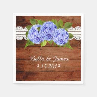 Rustic Blue Hydrangea Wedding Collection Napkins Disposable Napkin