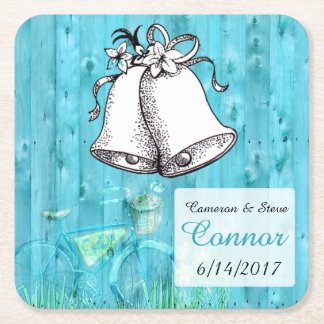 Rustic Blue  Personalized Wedding Bell Coasters