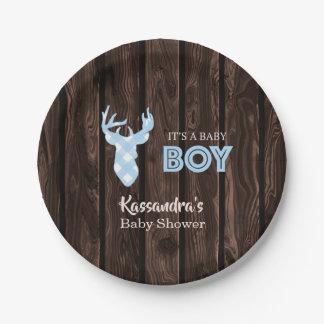 Rustic Blue Plaid Deer Baby Shower Paper Plates