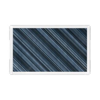 Rustic Blue Stripes Acrylic Tray