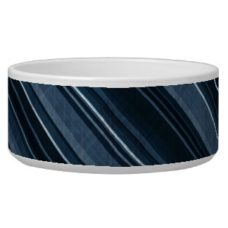 """Rustic Blue"" Stripes Pattern Dog Water Bowls"