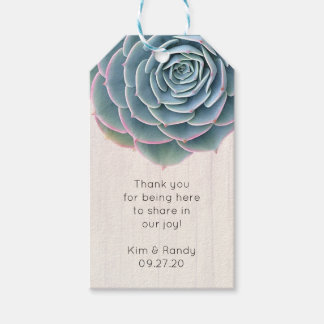 Rustic Blue Succulent Thank You Guests Tag Pack Of Gift Tags