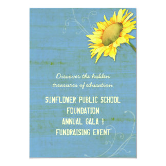 """Rustic Blue Sunflower Themed Fundraising Events 5"""" X 7"""" Invitation Card"""