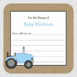 Rustic blue tractor baby shower bookplate square sticker