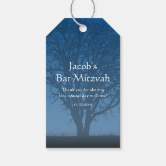 Rustic Blue Tree of Life Bar Mitzvah Gift Tags