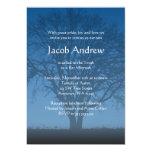 Rustic Blue Tree of Life Bar Mitzvah Invitations