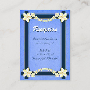 Flower border enclosure insert cards zazzle rustic blue wedding reception enclosure cards stopboris Images