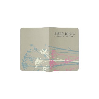 RUSTIC BLUE WHITE PINK COUNTRY CHARM MONOGRAM PASSPORT HOLDER
