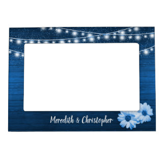 Rustic Blue Wood Daisy String Lights Wedding Magnetic Picture Frame
