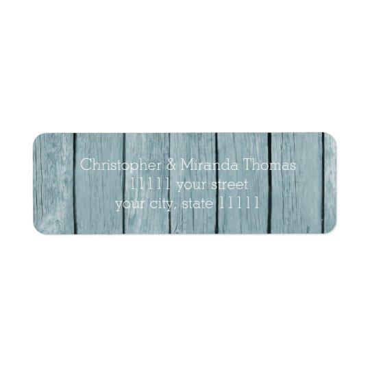 Rustic Blue Wood Return Address Label
