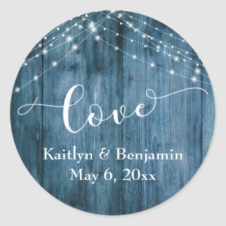 Rustic Blue Wood & White Light Strings Love Classic Round Sticker