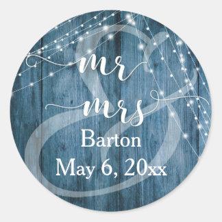 Rustic Blue Wood, White Light Strings Mr & Mrs Classic Round Sticker