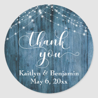 Rustic Blue Wood & White Light Strings Thank You Classic Round Sticker
