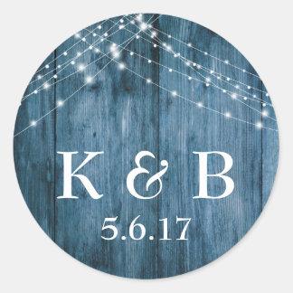 Rustic Blue Wood & White Light Strings Wedding Classic Round Sticker