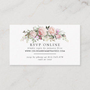 Rustic Blush Pink Floral Wedding Website RSVP Enclosure Card