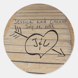 Rustic Boardwalk, Heart & Initials Beach Wedding Classic Round Sticker