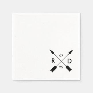 Rustic & Bohemian | Crossed Arrow | Custom Wedding Paper Napkins