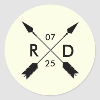 Rustic & Bohemian | Crossed Arrow | Custom Wedding Round Sticker