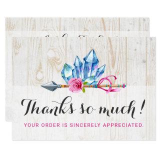 Rustic Bohemian Crystal Gems & Arrow Thank You Card