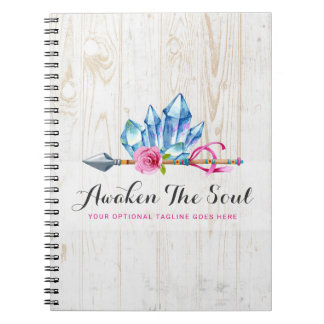 Rustic Bohemian Crystal Gems & Arrow Watercolor Notebook