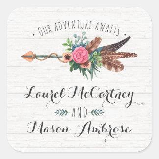 Rustic Bohemian Feathers & Rose Arrow Wedding Square Sticker