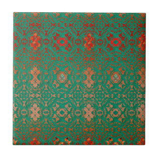 Rustic Bohemian Jade and Red Pattern Tile